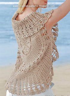 Crochet Cardigan Elegant Crochet Sweaters: Crochet Circular Vest - Two Crochet Circle Vest, Cardigan Au Crochet, Gilet Crochet, Crochet Circles, Crochet Jacket, Crochet Cardigan, Crochet Scarves, Crochet Clothes, Crochet Sweaters