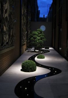 Cool curved path with lights. Wow!