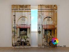 Fotogardinen Vorhänge  in Luxus Fotodruck 3D  Café in Amsterdam .
