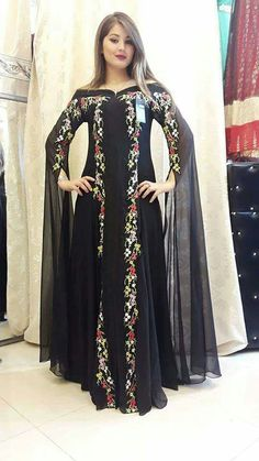 Cape sleeve Pakistani Bridal Dresses, Indian Dresses, Indian Outfits, Abaya Fashion, Muslim Fashion, Fashion Dresses, Mode Abaya, Mode Hijab, Beautiful Dresses