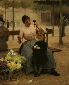 Victor-Gabriel Gilbert (French Academic Painter, Flower Seller with… French Flowers, Art Themes, Flower Market, French Artists, Beautiful Paintings, Love Art, Vintage Paintings, Victorian Paintings, Victorian Art