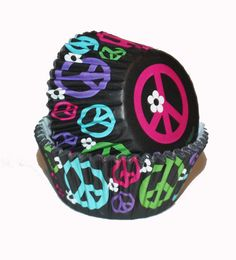 24 Peace Signs Cupcake Liners Baking cups Boy Girl Birthday Parties Hippie Flower Child Peace Love Hippy Black Pink Blue Purple Green
