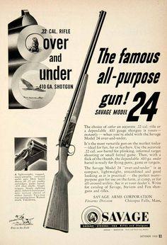 1953 ad for the Model 24 .22 caliber rifle/.410 gauge shotgun  #guns #shotgun