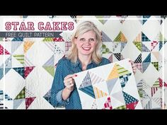 Star Cakes: Free Quilt Pattern with Fat Quarter Shop - Fat Quarter Shop's Jolly Jabber This my favorite block! Let's cheer for our newest Shortcut Quilt, Star Cakes! This awesome pattern is made with one print layer cake and solid layer cake and some back Layer Cake Quilt Patterns, Layer Cake Quilts, Quilt Patterns Free, Layer Cakes, Free Pattern, Doll Patterns, Star Quilts, Easy Quilts, Quilt Blocks