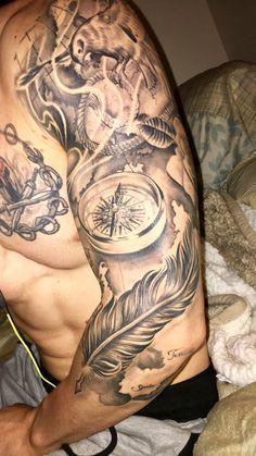 Full sleeve tattoo drawings full sleeve t Map Tattoos, Tattoo Fonts, Life Tattoos, Tattoo Drawings, Body Art Tattoos, Tribal Tattoos, Cool Tattoos, Feather Tattoos, Nautical Tattoo Sleeve