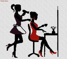 0 point de croix silhouette 2 filles chez le coiffeur - cross stitch 2 girls at the hairdresser