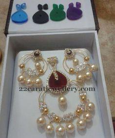 Jewellery Designs: Changeable Stones Light Weight Pendant