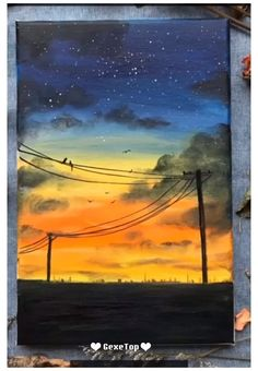 Easy Canvas Art, Simple Canvas Paintings, Small Canvas Art, Easy Canvas Painting, Easy Nature Paintings, Sunset Painting Easy, Acrylic Canvas, Diy Canvas, Watercolor Sunset