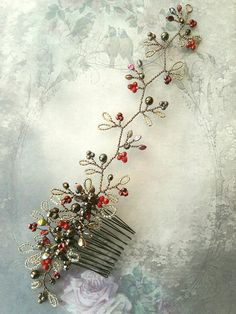 Autumn berry bridal wedding hair comb vine hairpiece accessory for a romantic woodland wedding. Beautiful, rich, autumn berry and leaf shapes are featured in this handmade hair comb with attached hair vine extension. Leaves made with green/brown seed beads and autumnal berry
