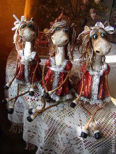 Три сестры))) - коричневый,лошадка,лошадь-символ 2014,игрушка,животные