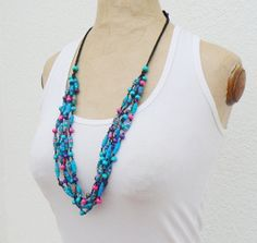 Turquoise Textil Necklace  fuchsia purple handmade by MotuProprio, $26.00