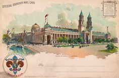 Palace of Varied Industries, St. Louis Worlds Fair, Postcard shows an ornate building at the Louisiana Purchase Exposition in Saint Louis. Louisiana Purchase, World's Fair, Old Postcards, St Louis, Palace, Taj Mahal, Concept Art, Industrial, History