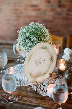 Vintage china table numbers with numbers on doilies!