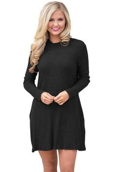 6035f808903 Black High Neck Long Sleeve Knit Sweater Dress