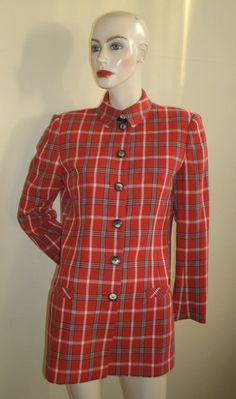 Vintage Women's Emanuel Ungaro Collection Paris red navy check pattern blazer jacket, $99.00