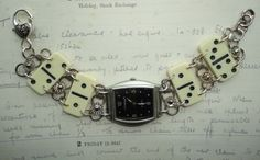 Handmade Watch with Dominoes Bracelet Eco by Recycloanalyst