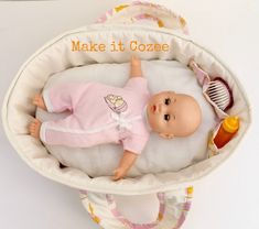 Baby doll moses basket / bed tutorial from Make it Cozee via lilblueboo.com