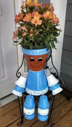 Flower pot person I made for mom! Love it!!