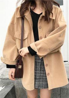 French Fashion Tips Khaki Pockets Turndown Collar V-neck Long Sleeve Cardigan Coat.French Fashion Tips Khaki Pockets Turndown Collar V-neck Long Sleeve Cardigan Coat Mode Outfits, Korean Outfits, Fall Outfits, Fashion Outfits, Korean Winter Outfits, Fashion Tips, Fashion Pants, Modest Fashion, Hijab Fashion
