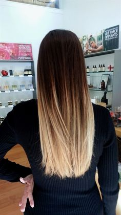 Straight ombre hair tye and dye blonde, dark brown to blonde balayage, blonde ombre Straight Ombre Hair, Ombre Blond, Balayage Hair Blonde, Ombre Hair Color, Brunette Hair, Balayage Highlights, Red Ombre, Dark Ombre, Long Ombre Hair