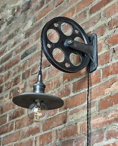Train Station Wall Pulley Light – Vintage Industrial Cast – – Wall Pulley – Industrial Pulley – Gears – Steampunk Light – Quality - All For Decoration Modern Industrial Decor, Industrial Wall Lights, Vintage Industrial Lighting, Industrial Interior Design, Industrial Light Fixtures, Vintage Industrial Furniture, Rustic Lighting, Industrial House, Industrial Artwork