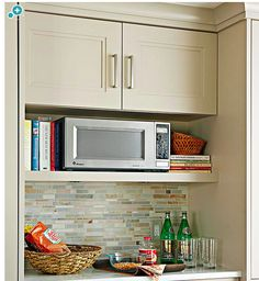 Microwave + Cookbook Niche Or Vs A Built In Microwave? When We Raise The  Cabinets To Ceiling And Add Shelves.