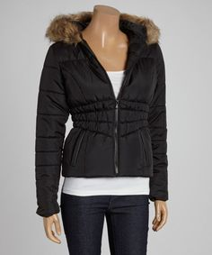 Look what I found on #zulily! Jet Black Faux Fur Hooded Zip-Up Puffer Coat - Women by Celebrity Pink #zulilyfinds
