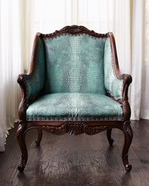 See, my plan is to get a chair with some old-world detailing, but a nice modern print and/or color. Just like this one.