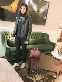99f430b136d Leather jacket and new balance sneakers with Givenchy nightingale micro bag.  Chandra Sakhrani