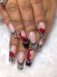 17 ideas for wedding nails french manicure black white Red Nail Art, White Nails, Pink Nails, Black Nail Designs, Nail Art Designs, Fancy Nails, Pretty Nails, Nails Only, Super Nails