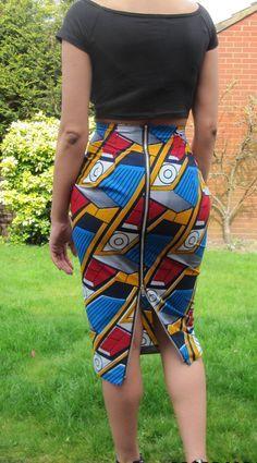 African print high waisted long pencil skirt with metal zipper