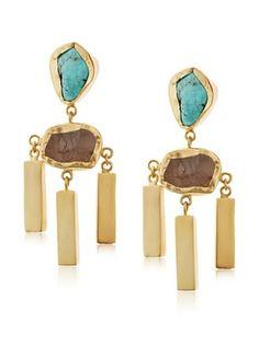 65% OFF Zariin Frosted Mist Turquoise & Rose Quartz Earrings