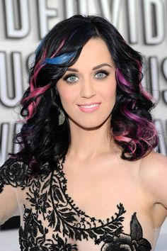 Beautiful Katy Perry. Love the Vibrant streaks in her hair.