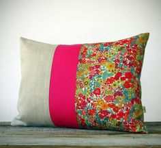 Bright Floral Liberty Print Pillow - Hot Pink Stripe - Summer Home Decor by JillianReneDecor - Margaret Annie - Neon