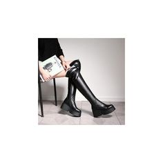 Genuine Leather Over-the-Knee Platform Boots ($124) ❤ liked on Polyvore featuring shoes, boots, footware, over-the-knee boots, thigh high leather boots, leather boots, thigh high boots, over the knee boots and over-knee boots