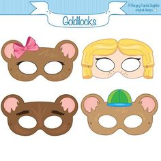 Goldilocks and the three bears Printable Party Masks