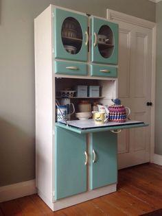 1950's Vintage Kitchen Larder Cupboard Cabinet Kitchenette, Solid wood Manufactured in Romford by Blue Gate Products. by redjenbob, ebay