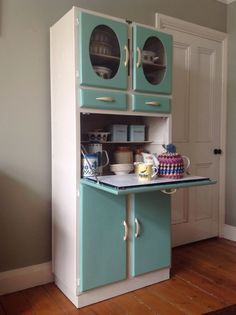 "I want! ""1950's Vintage Kitchen Larder Cupboard Cabinet Kitchenette, Solid wood Manufactured in Romford by Blue Gate Products."" -Rj"