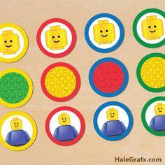 FREE Printable LEGO Building Blocks Cupcake Toppers