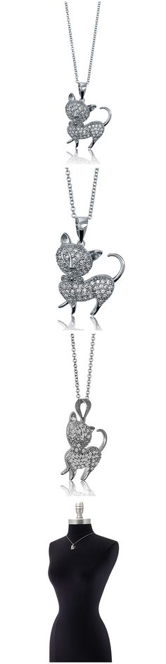 Sterling Silver CZ Cat Fashion Necklace