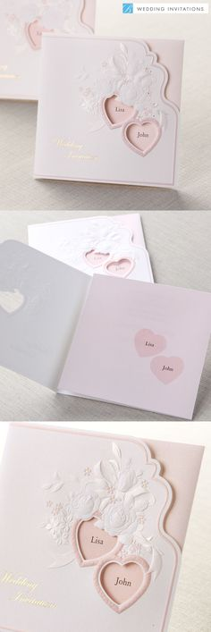 Embossed Hearts Tri-Fold by B Wedding Invitations #weddinginvitations #wedding #pinkwedding