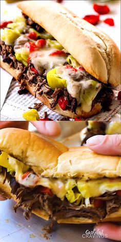 Crazy juicy, tender, flavorful Crockpot Italian Beef Sandwiches loaded with all your favorite toppings! Perfect for Game Day, holidays, parties or just a fun dinner! Make ahead and freezer instructions included videos Crockpot Italian Beef Sandwiches Meat Recipes, Slow Cooker Recipes, Crockpot Recipes, Cooking Recipes, Recipes Dinner, Crockpot Meat, Dinner Crockpot, Pulled Pork Recipes, Kitchen Recipes