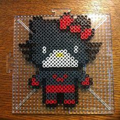 Batwoman Hello Kitty perler beads by splattycake