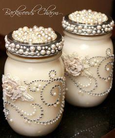frascos decorados con perlas