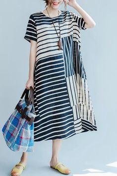 Black and Rice Stripe Linen Summer Long Dresses Women Clothing Q3110