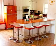 Happy Kitchen, Happy Home! Retro Modern Kitchen with Orange Refrigerator. Bring some color to your life with Big Chill retro appliances Galley Kitchen Design, Modern Kitchen Design, New Kitchen, Vintage Kitchen, Orange Kitchen, 1950s Kitchen, Vintage Fridge, Kitchen Ideas, Happy Kitchen