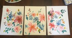 3 piece floral watercolor by Amber Baird