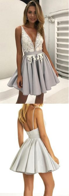 V Neck Short A Line Prom Dress,Sleeveless Lace Appliques Cheap Homecoming Dress OK416 #cute #lace #short #prom #homecoming #aweet16 #aline #okdresses