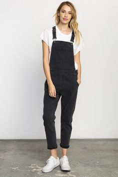 14f4d28e175 Rvca Sweetness Denim Overalls - Washed Black 28 Black Overalls Outfit