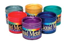 Liquid Metals by Sargent Art - Metallic acrylic paint, with great coverage and luminosity! Great for signs, murals, sculptures, stage design and large and small scale projects. @Gwartzman's Art Supplies #Paint #Metallic #Acrylic